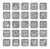 Real estate, sale, rent, icons, monochrome, linear. Stock Photos