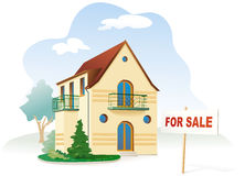Real estate for sale. Vector. Family house with sign For sale. Realty. Vector illustration Stock Image