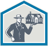Real Estate Salesman Sell House Retro Royalty Free Stock Images