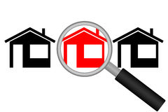 Real Estate Search. Street with houses and magnifying glass. Vector illustration Royalty Free Stock Images