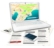 Real estate searching concept. Silver modern laptop with online city map on display, newspaper with classified real estate ads, red ballpoint pen, white stock illustration