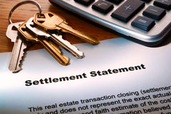 Real Estate Seller Settlement Statement and Keys Stock Photography