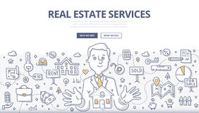 Real Estate Services Doodle Concept. Doodle  illustration of real estate agent at work. Real estate business concept with property and house mortgage elements Royalty Free Stock Photography