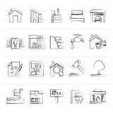 Real Estate services Icons. Vector Icon Set Stock Photos