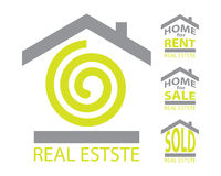 Real estate set. (logo, for rent, for sale and sold sign Stock Photos