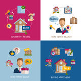 Real Estate Set. Real estate design concept set with apartment rental flat icons isolated vector illustration Royalty Free Stock Photography