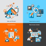 Real Estate Set. Real estate design concept set with sale and rental market apartment search improvements flat icons isolated vector illustration Royalty Free Stock Photo