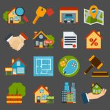 Real Estate Set. Real estate icons set of house key garage swimming pool  isolated vector illustration Stock Photo