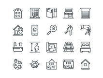 Real Estate. Set of outline vector icons. Includes such as Property, Building, Apartment and other. Editable Stroke. 48x48 Pixel Perfect Royalty Free Stock Image