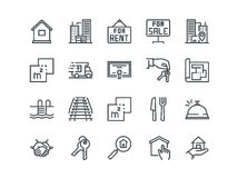 Real Estate. Set of outline vector icons. Includes such as Property, Keys, Blueprint and other. Editable Stroke. 48x48. Pixel Perfect Stock Photography