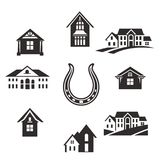 Real estate set. Real estate. Flat Residential Houses. Set houses icons, buildings, and architecture variations in flat style design. Modern city architecture Royalty Free Stock Image