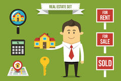Real estate set. Vector realtor with set of real estate icons. Each object can be placed in his hand Stock Image