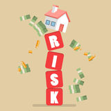 Real estate on shaky risk blocks Stock Photo