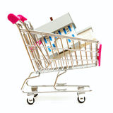 Real Estate Shopping. A house sits inside a shopping cart for real estate concepts Stock Photo
