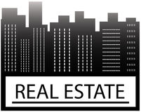 Real estate sign with skyscraper Royalty Free Stock Images