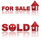 Real Estate signs. Set of two glossy real estate signs showing a house for sale and another one sold Stock Photos