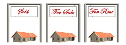 Real estate signs with houses. Stock Photography
