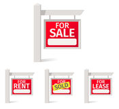 Real Estate Signs, red plate with a field for notes on the pole. Real Estate Signs, red plate with a field for notes on the pole Royalty Free Stock Images