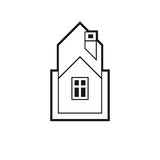 Real estate simple business vector icon isolated on white background, abstract house depiction. Property developer. Symbol, conceptual sign best for use in royalty free illustration