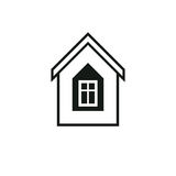 Real estate simple business vector icon isolated on white background, abstract house depiction. Property developer. Symbol, conceptual sign best for use in stock illustration