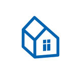 Real estate simple business vector icon isolated on white background, abstract house depiction. Property developer symbol. Real estate simple business vector stock illustration