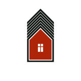 Real estate simple vector business icon isolated on white background, abstract house depiction. Property developer symbol stock illustration