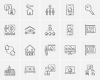 Real estate sketch icon set. Real estate sketch icon set for web, mobile and infographics. Hand drawn real estate icon set. Real estate vector icon set. Real Royalty Free Stock Photography