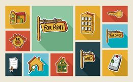 Real estate sketch style flat icon set Stock Photography