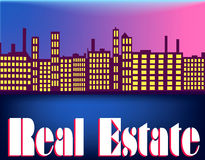Real Estate Skyline. Waterfront skyline with text  Real Estate across the bottom Stock Photo