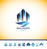 Real estate skyscraper building logo Stock Photos