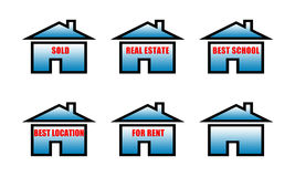 Real estate sold, real estate, best school, best location, for rent signs Stock Image