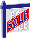 Real Estate - SOLD sign. Rendered sign. Also see FOR SALE and blank stock image