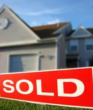 Real Estate Sold Sign And House For Sale Stock Image