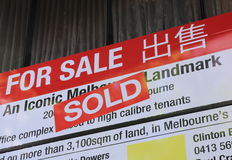 Real estate sold sign Australia Stock Photo
