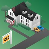 Real Estate Sold Sign with House Isometric 3d Style Vector Illustration. Real Estate Sold Sign with Cute Country Colonial Style House, Isometric 3d Style Vector royalty free illustration