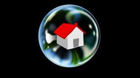 Real Estate sprudeln: Haus in einer Blase steigt in Ansicht, wackelt, um ungefähr zu bersten lizenzfreie abbildung