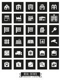 Real estate square black icons. Collection of real estate square black icons on white background Stock Images