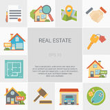 Real Estate Square Icons Set Stock Images