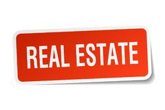 Real estate sticker. Real estate square sticker isolated on white background. real estate Royalty Free Stock Images