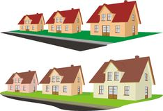 Real estate - suburb. New housing estate of detached houses - the investment in real estate Royalty Free Stock Photo