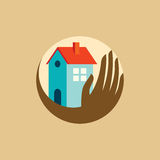 Real estate symbol with hand Stock Photo