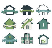Real estate symbol house logos. Isolated on white Royalty Free Stock Image