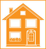 Real estate symbol with isolated house. Silhouette in frame Stock Photography