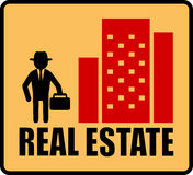Real estate symbol with man and city. Red real estate symbol with man and city silhouette Royalty Free Stock Images