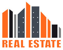 Real estate symbol with many skyscraper. Silhouette Stock Photos
