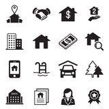 Real Estate symboler stock illustrationer