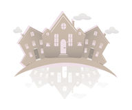 Real estate symbolical image isolated on white background. Vintage  icon of  houses. Stock Photo