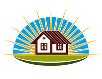 Real estate theme. Illustration of a house on sunset background. Royalty Free Stock Image