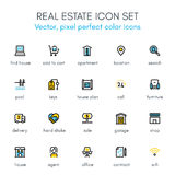 Real estate theme line icon set. Pixel perfect fully   icon suitable for websites, info graphics and print media Royalty Free Stock Image