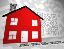 Real Estate Themed QR Codes Concept Design 2. Generic QR Codes in a Real Estate themed concept design.rnQR Codes have information encoded in their pattern that vector illustration